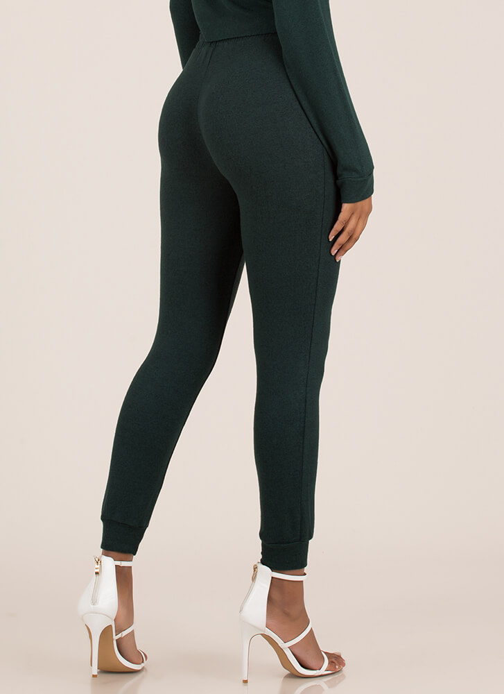 Ease Into It Knit Drawstring Joggers HUNTERGREEN