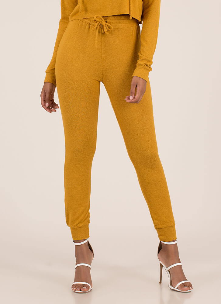 Ease Into It Knit Drawstring Joggers MUSTARD