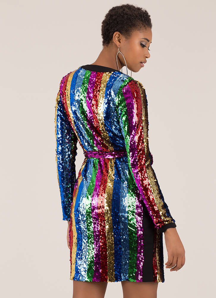 Stripes And Sequins Tied Duster MULTI (Final Sale)