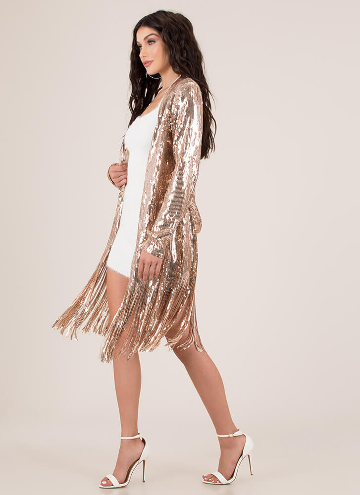 Flapper Movement Fringed Sequined Duster ROSEGOLD