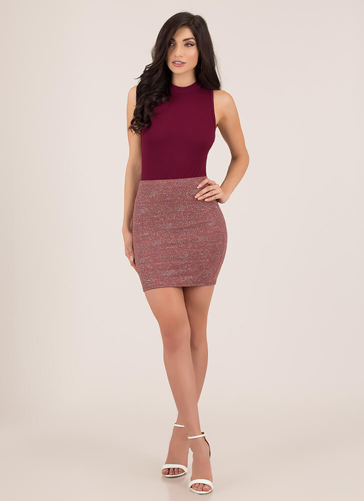 Something Sparkly Glittery Miniskirt MAUVE