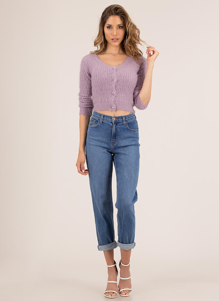 Fuzz Words Cropped Knit Cardigan LAVENDER