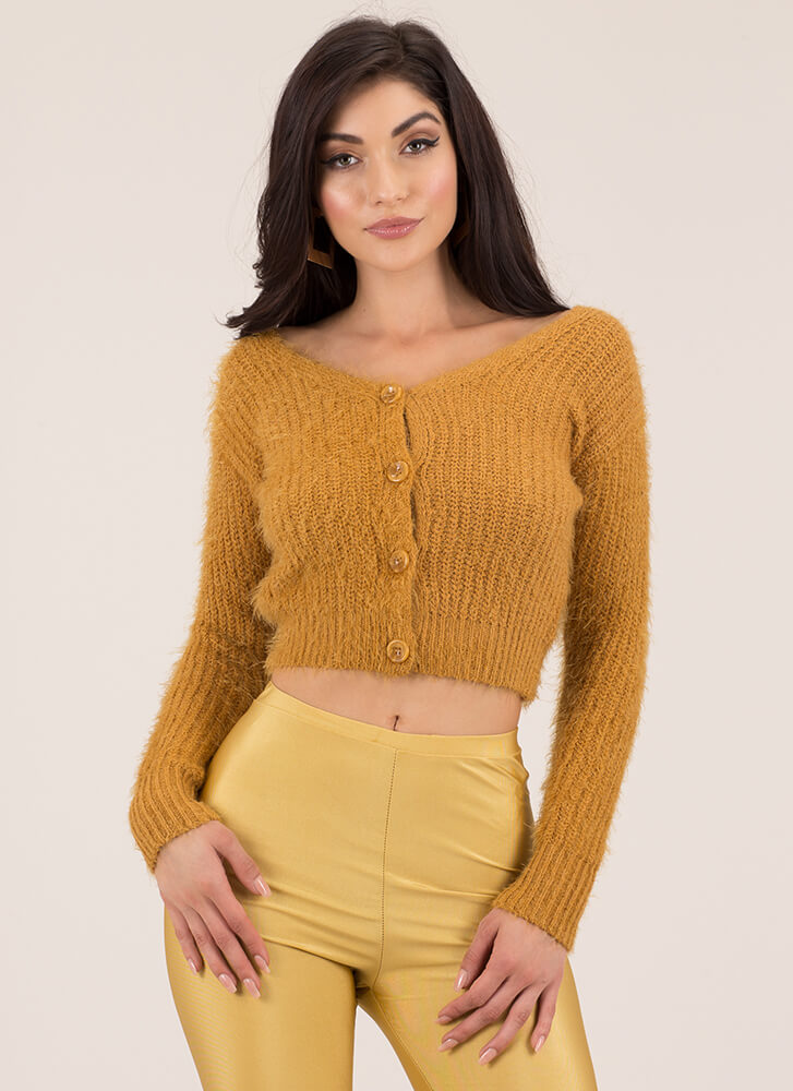 Fuzz Words Cropped Knit Cardigan MUSTARD