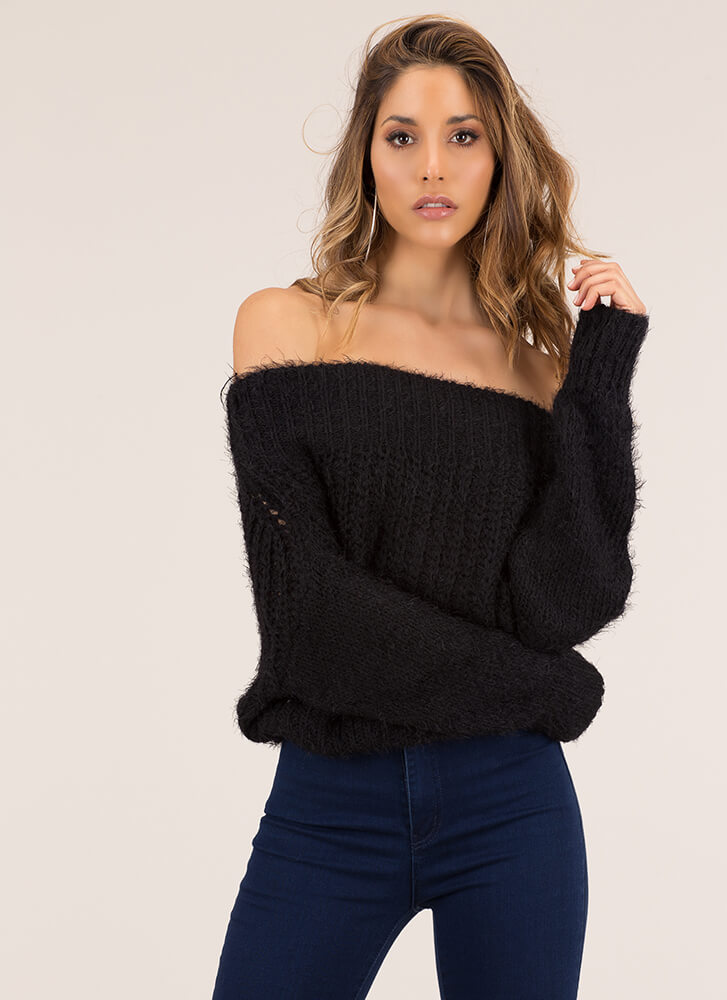 Cozy Up To This Fuzzy Knit Sweater BLACK