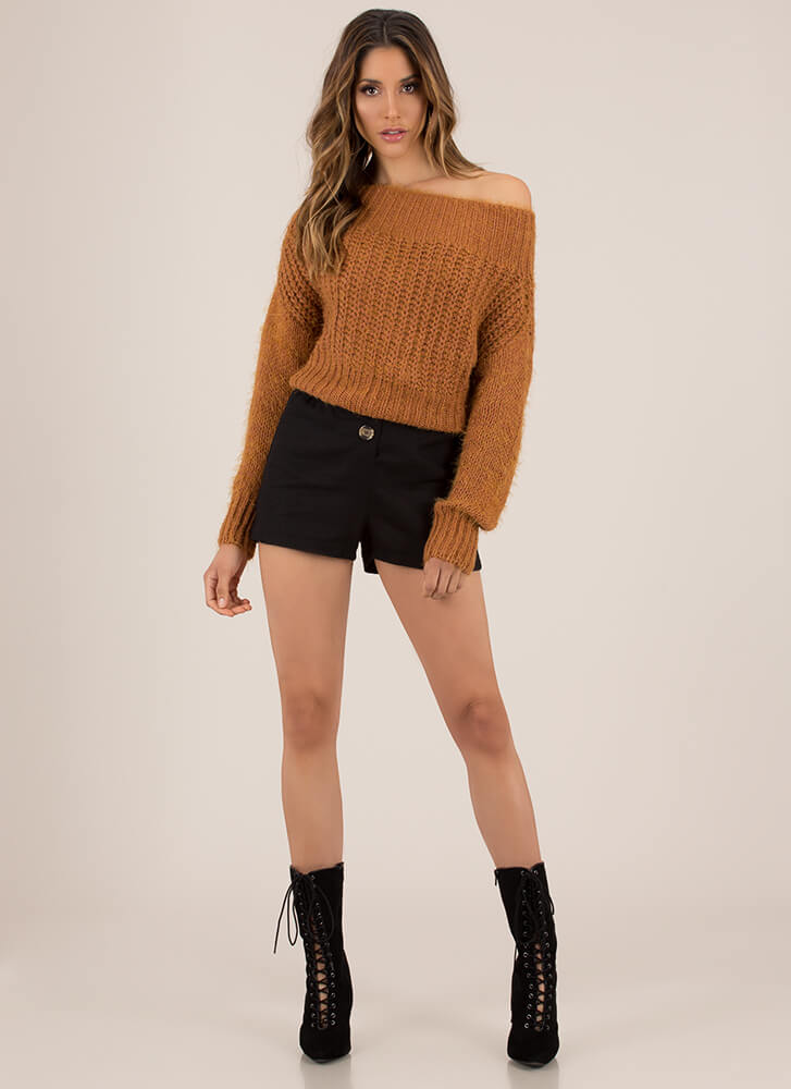 Cozy Up To This Fuzzy Knit Sweater MUSTARD
