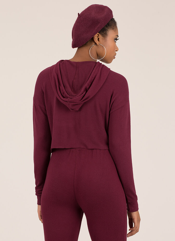 Ease Into It Knit Drawstring Hoodie BURGUNDY