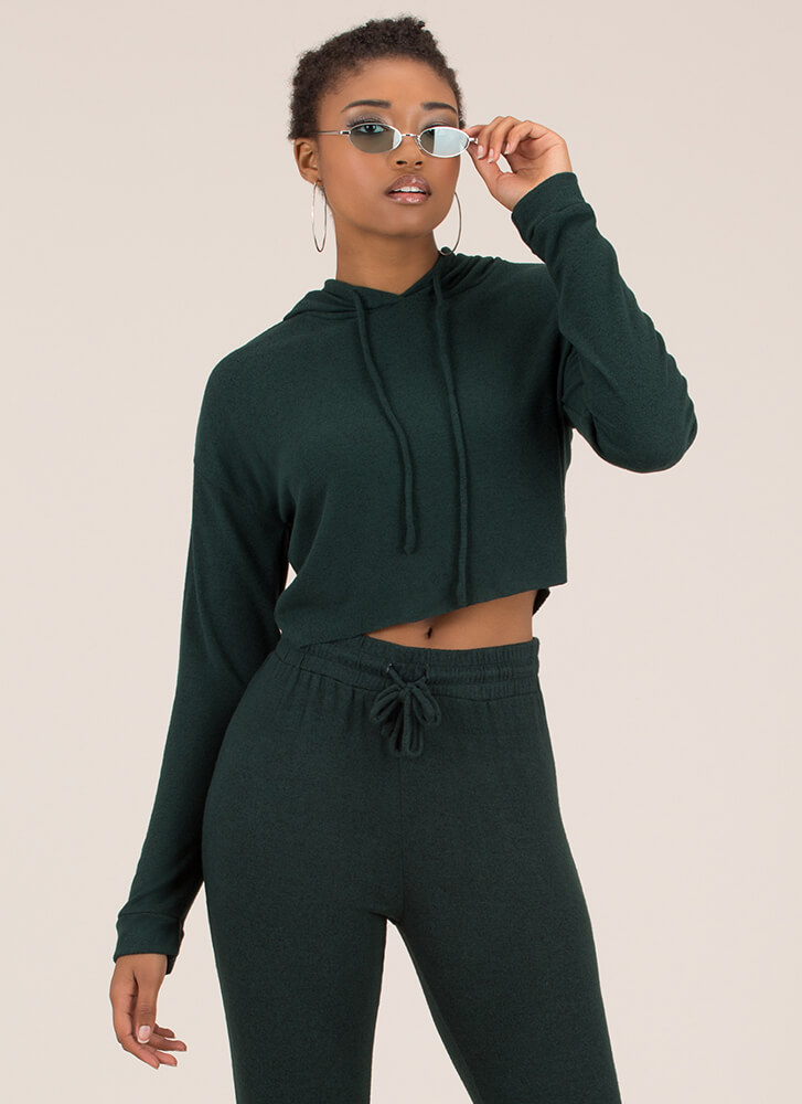 Ease Into It Knit Drawstring Hoodie HUNTERGREEN