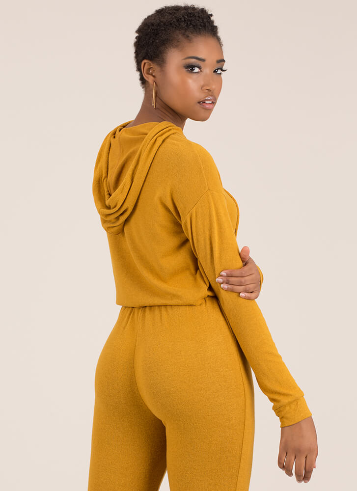 Ease Into It Knit Drawstring Hoodie MUSTARD