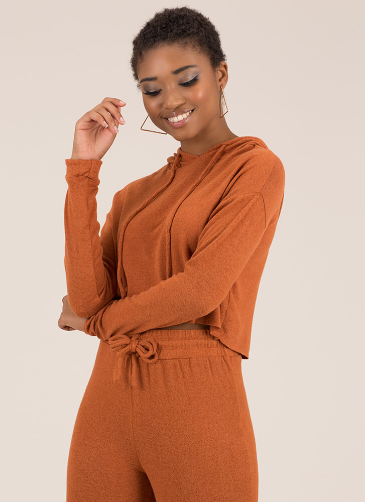 Ease Into It Knit Drawstring Hoodie RUST