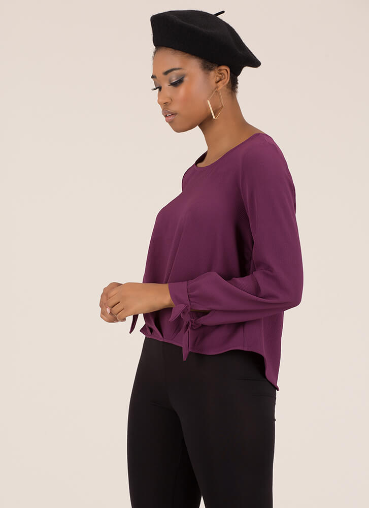 Pleats And Valleys Tie-Sleeve Blouse BERRY