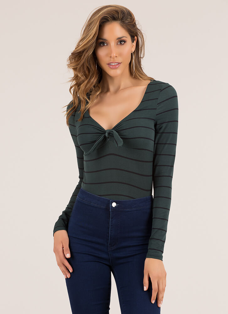 Knot That Serious Tie-Front Striped Top HUNTERGREEN