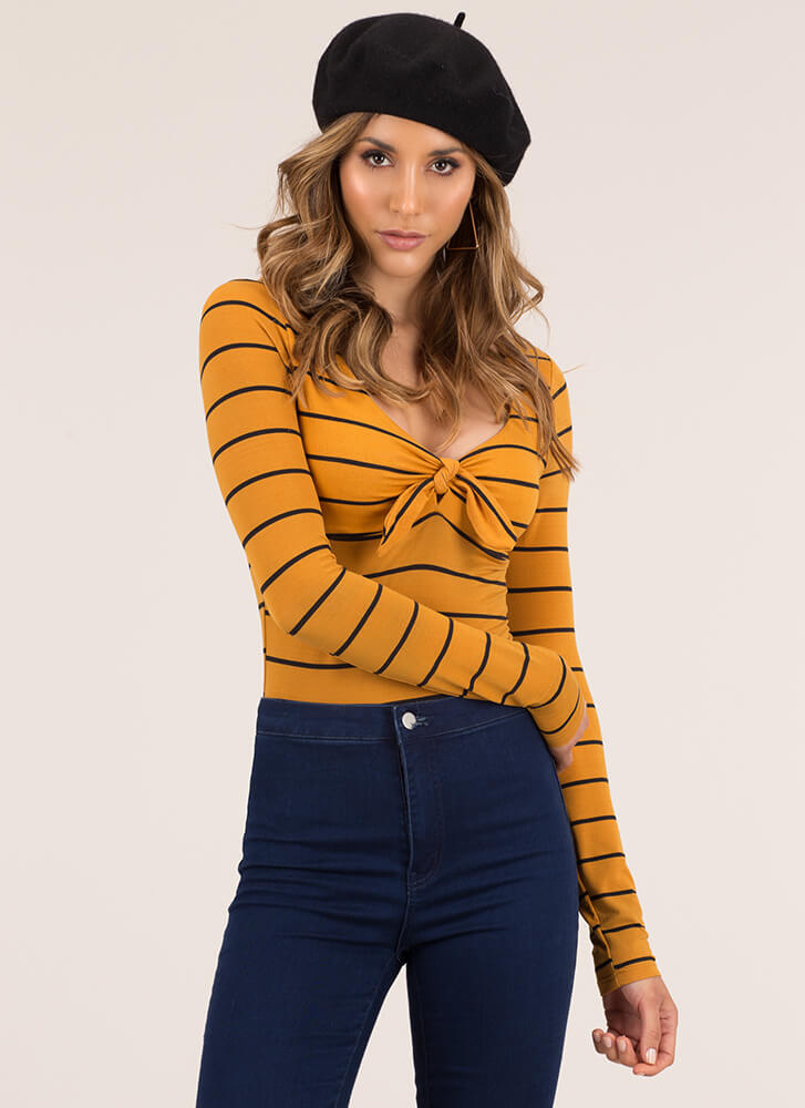 Knot That Serious Tie-Front Striped Top MUSTARD