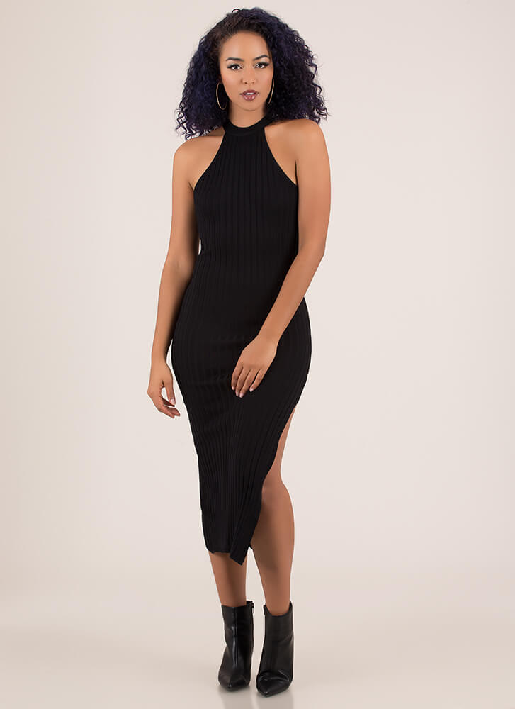 Simplicity Slit Rib Knit Midi Dress BLACK