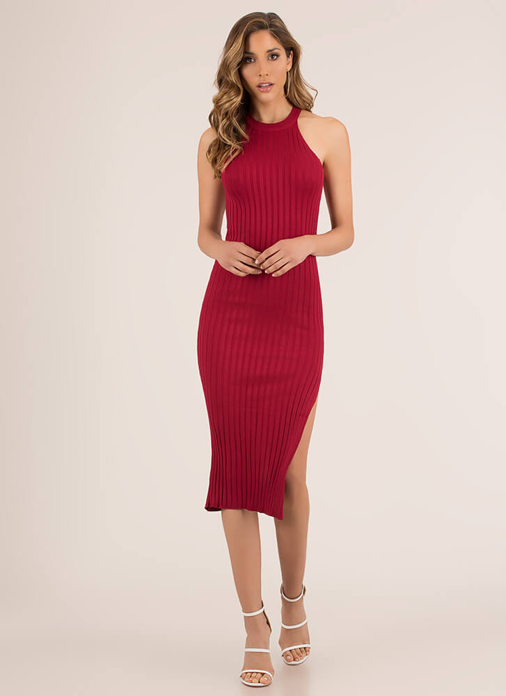 Simplicity Slit Rib Knit Midi Dress BURGUNDY