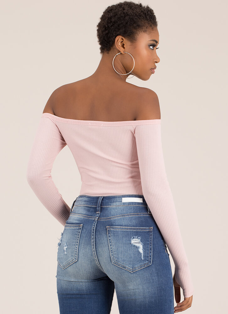 Thumbs Up Off-Shoulder Thong Bodysuit MAUVE