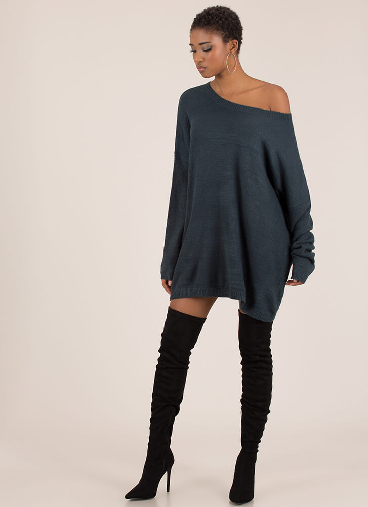 Hit The Big Time Oversized Knit Sweater HUNTERGREEN
