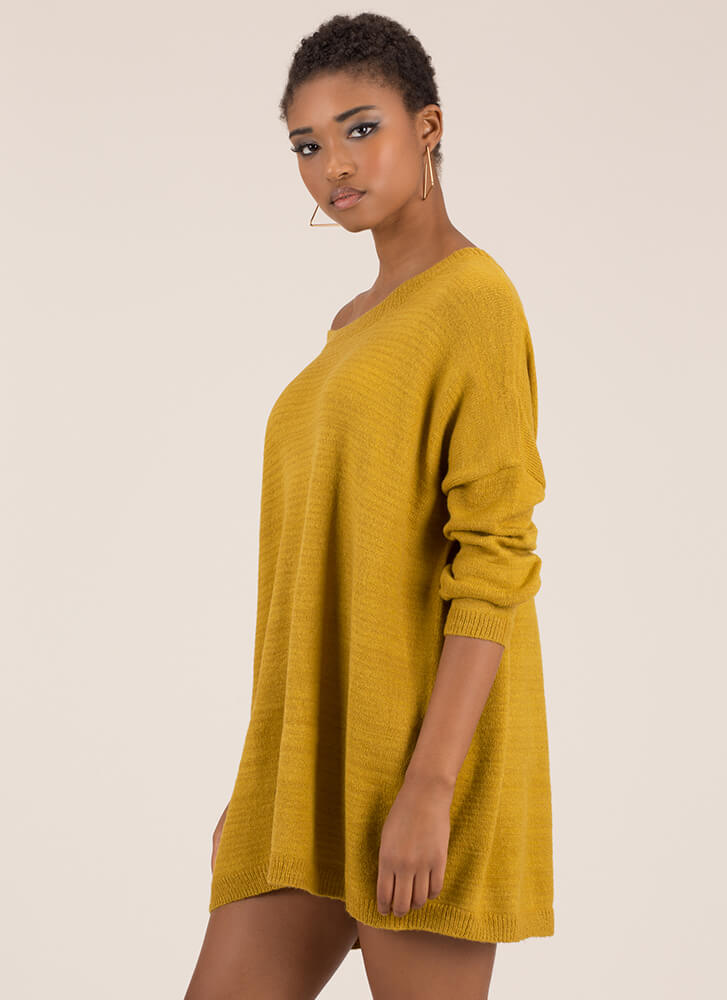 Hit The Big Time Oversized Knit Sweater MUSTARD