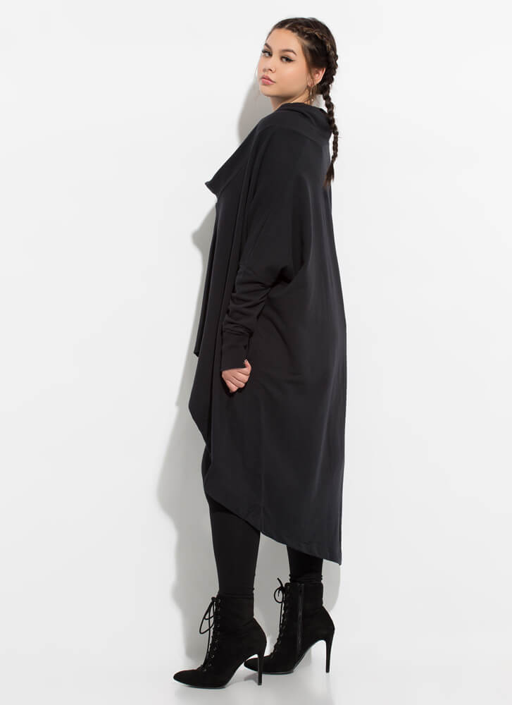 Holy Cowl High-Low Sweater Dress BLACK