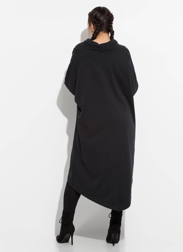 Holy Cowl High-Low Sweater Dress BLACK (You Saved $24)