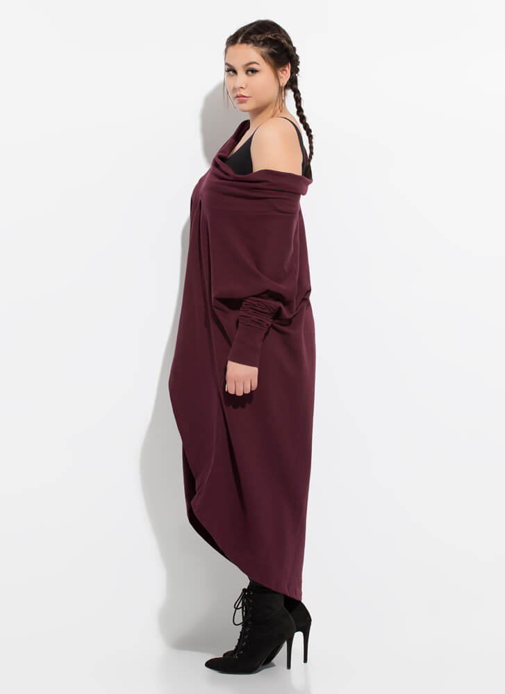 Holy Cowl High-Low Sweater Dress BURGUNDY