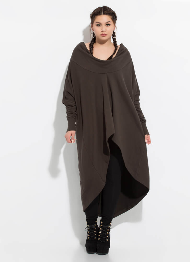 Holy Cowl High-Low Sweater Dress OLIVE