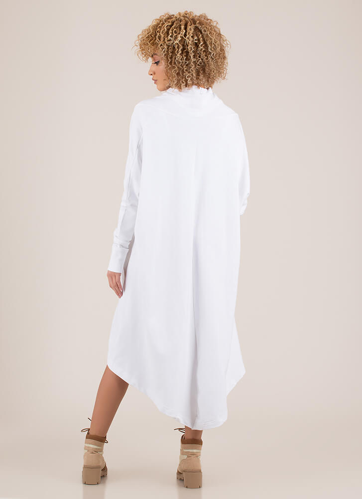 Holy Cowl High-Low Sweater Dress WHITE (You Saved $24)