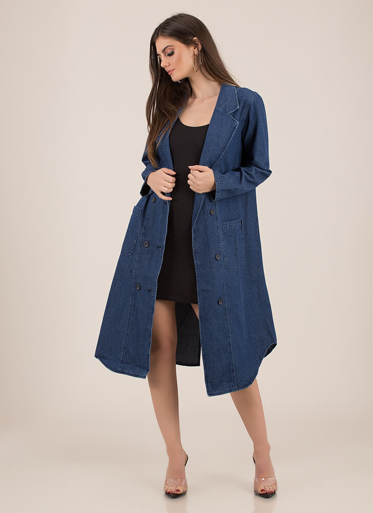 Cool Customer Longline Denim Jacket BLUE