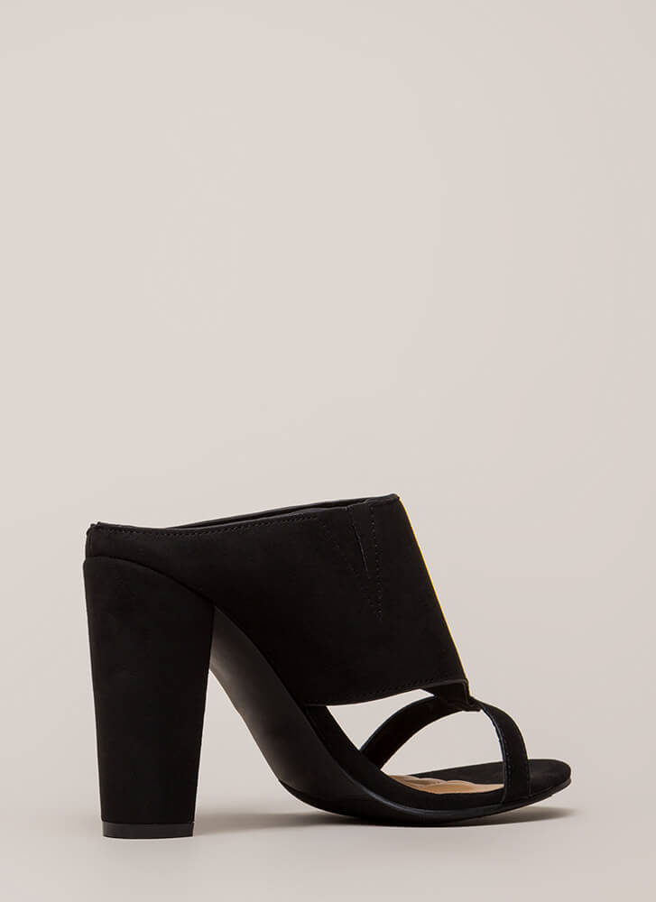 Cut You Off Faux Suede Mule Heels BLACK