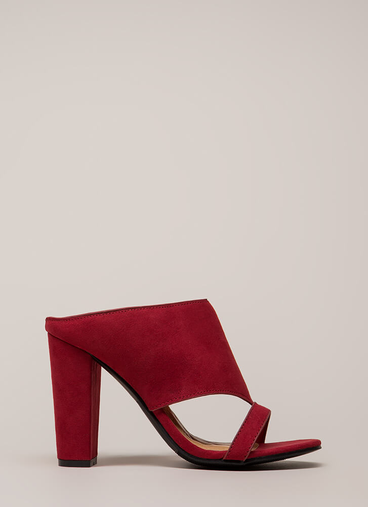 Cut You Off Faux Suede Mule Heels RED