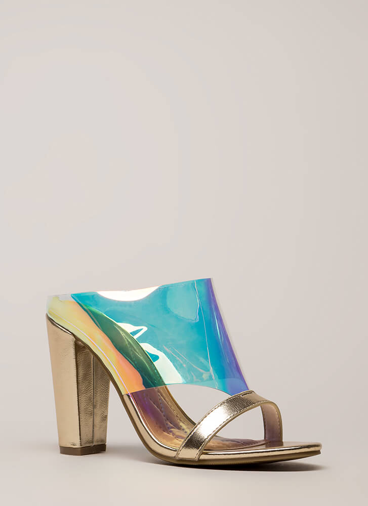 Cut You Off Holographic Mule Heels IRIDESCENT