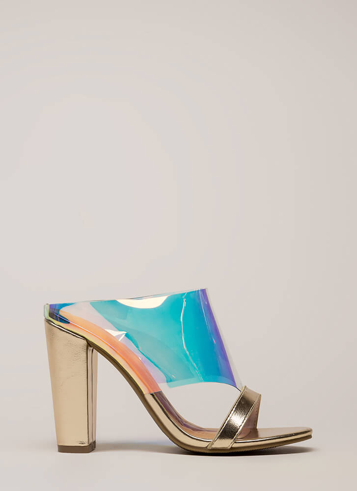 Cut You Off Holographic Mule Heels IRIDESCENT (Final Sale)