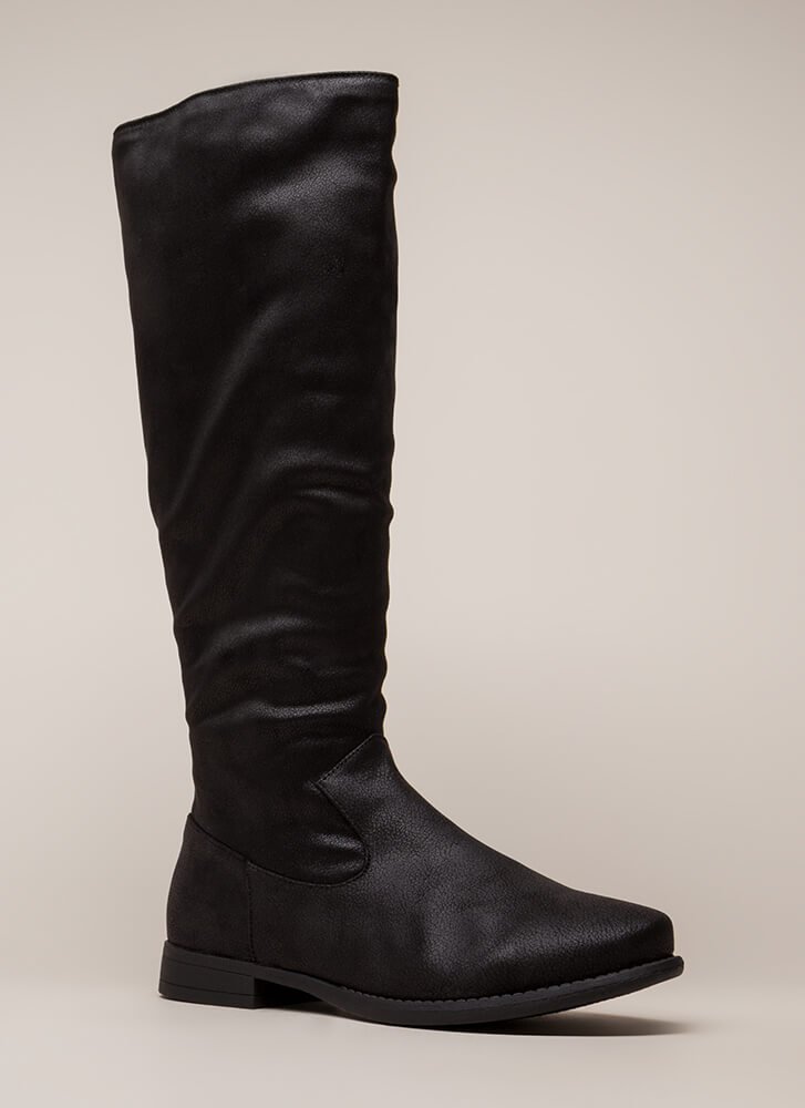 In Plain View Knee-High Riding Boots BLACK