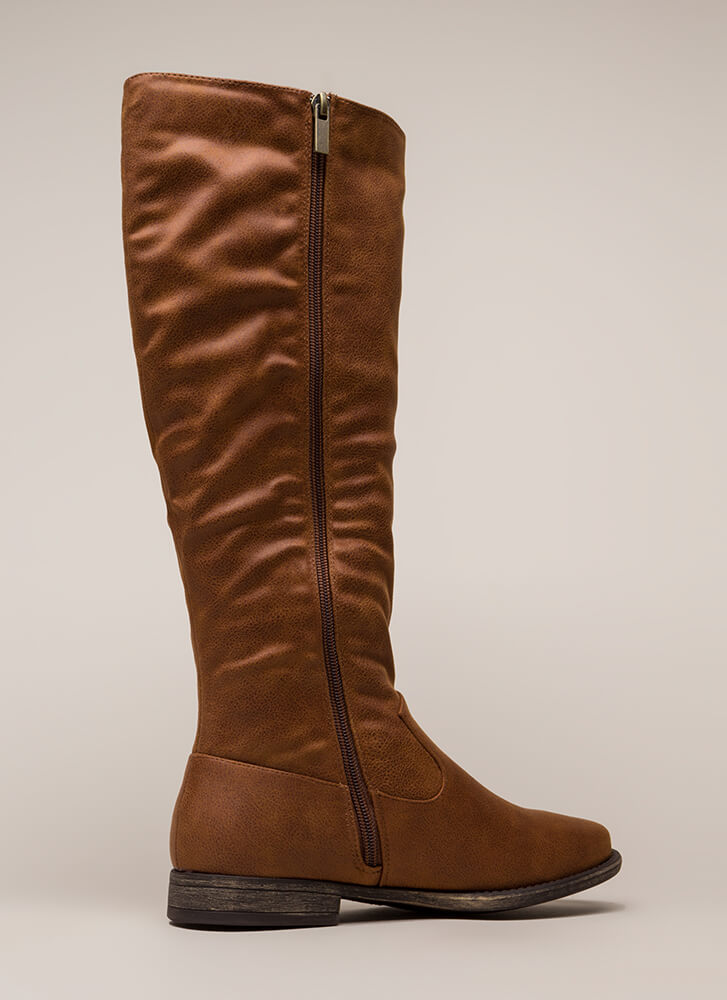 In Plain View Knee-High Riding Boots CHESTNUT