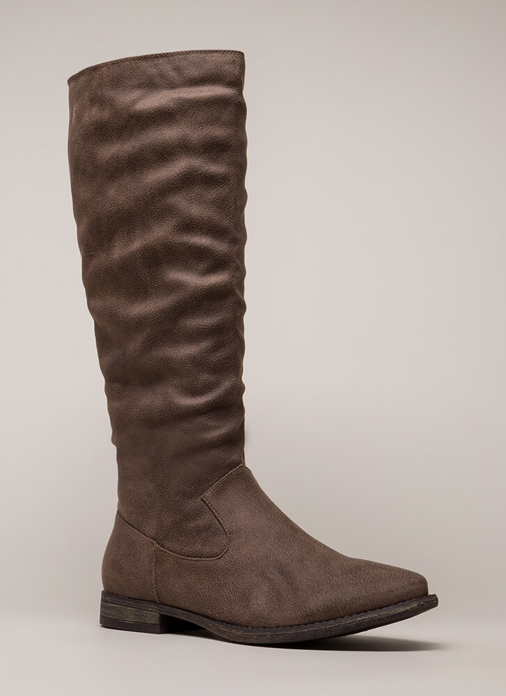 In Plain View Knee-High Riding Boots TAUPE