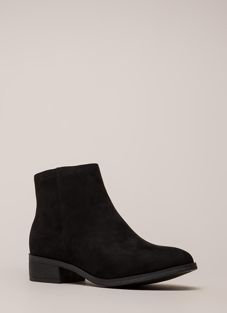 Plain And Simple Faux Suede Booties BLACK