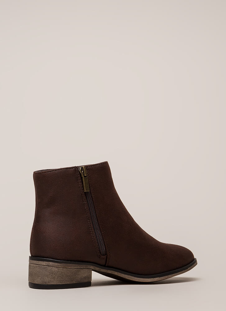 Plain And Simple Faux Leather Booties BROWN