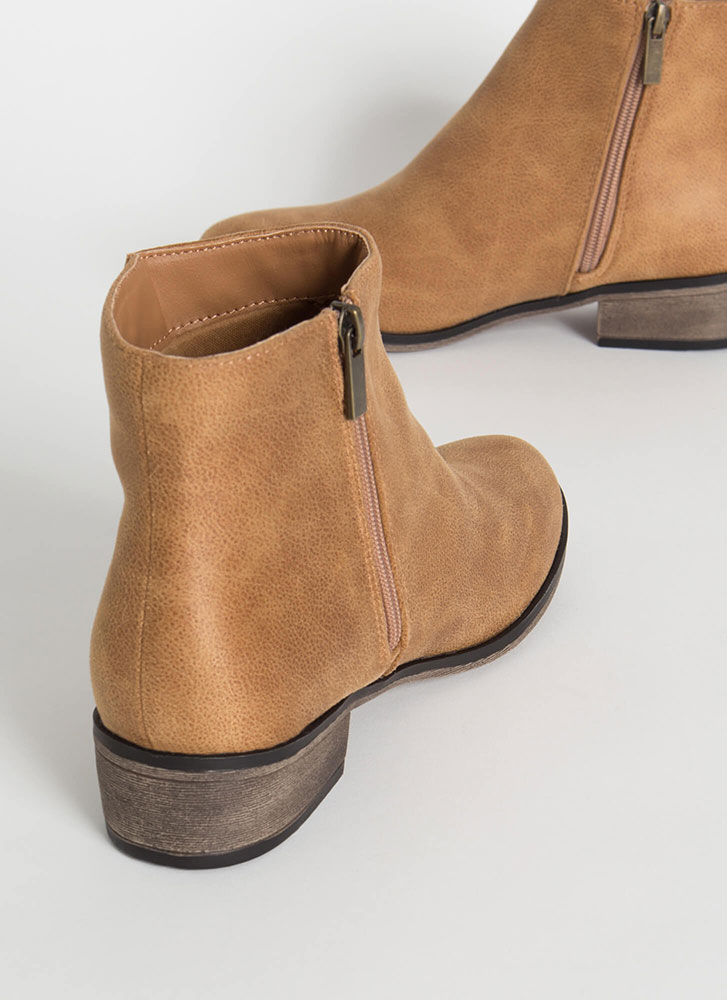Plain And Simple Faux Leather Booties TAN