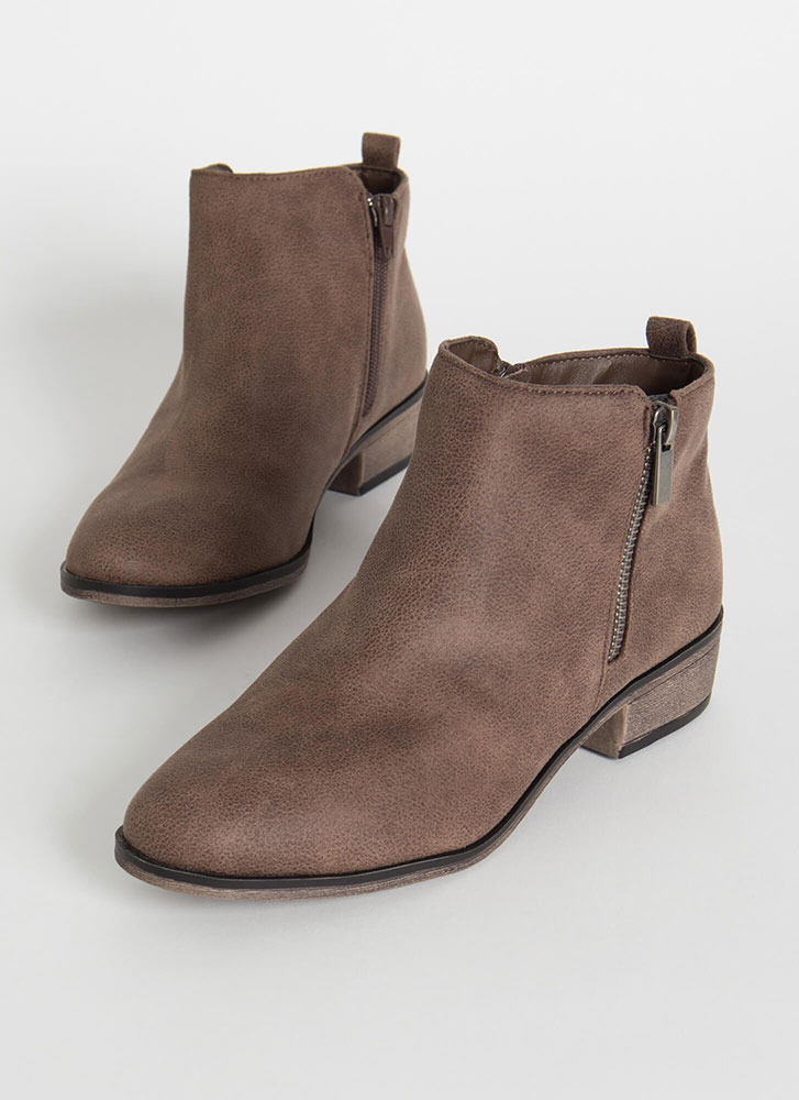 Plain And Simple Faux Leather Booties TAUPE