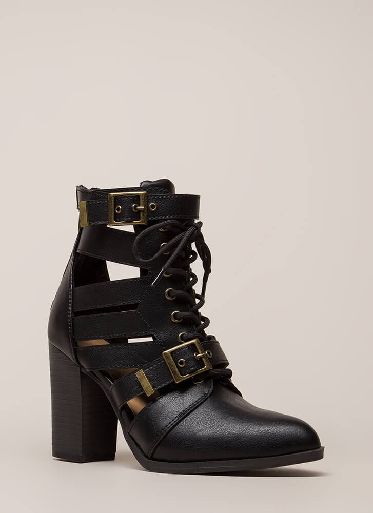 World Explorer Strappy Lace-Up Booties BLACK