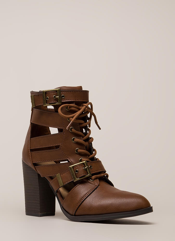 World Explorer Strappy Lace-Up Booties CHESTNUT