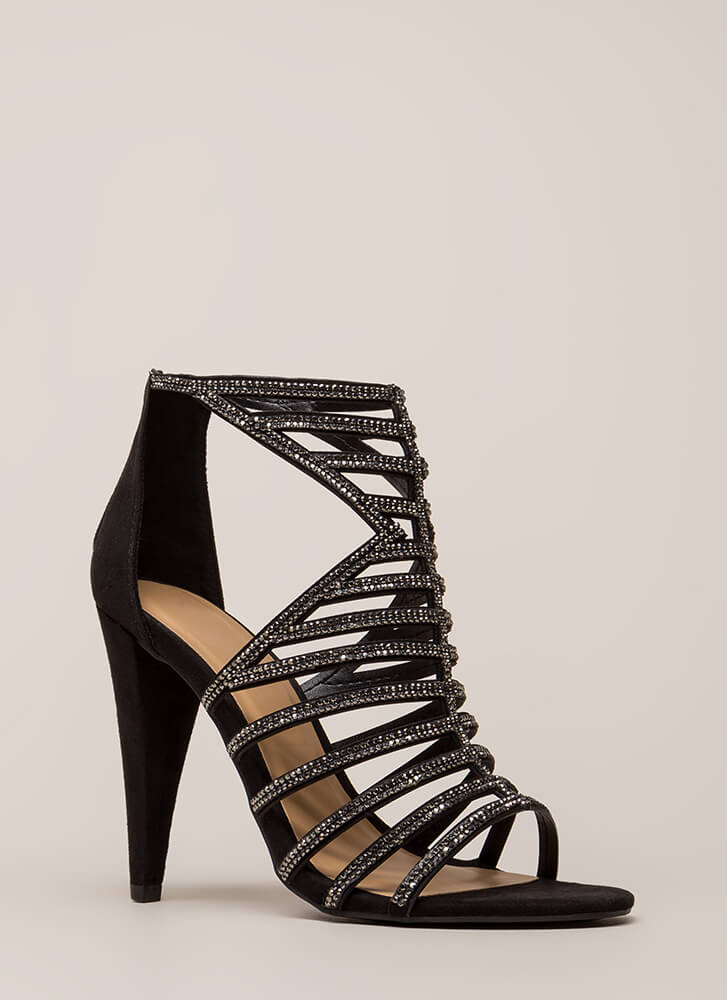 Smashing Strappy Caged Rhinestone Heels BLACK