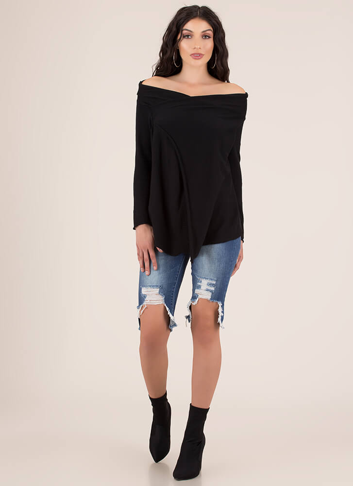 Keep Cool Draped Off-Shoulder Sweater BLACK