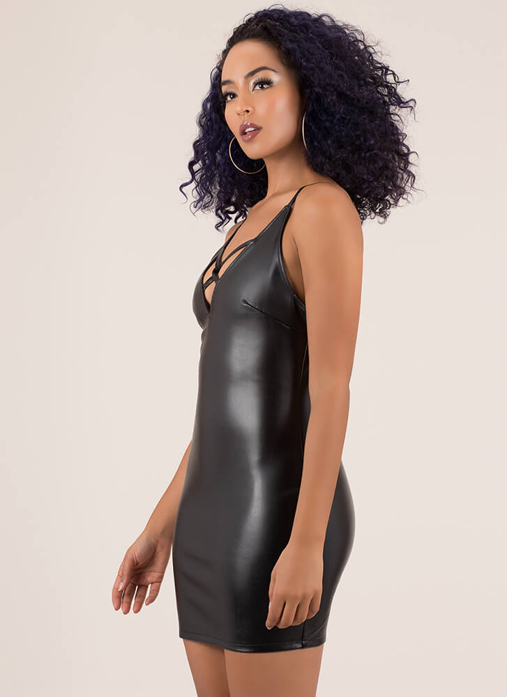X-It Strategy Faux Leather Minidress BLACK