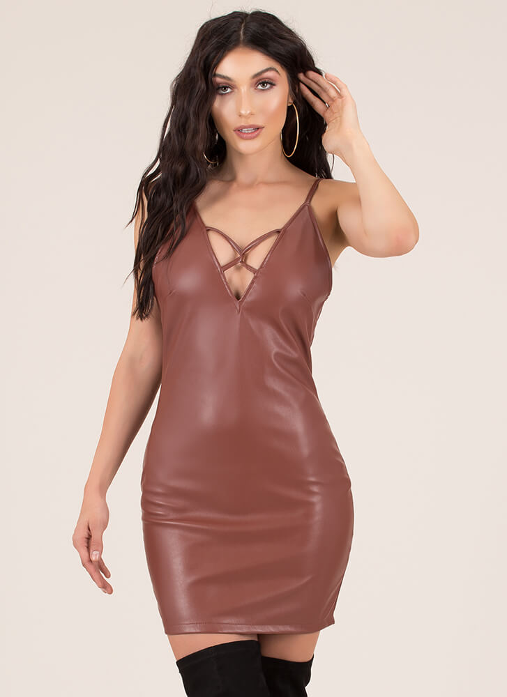 X-It Strategy Faux Leather Minidress BROWN