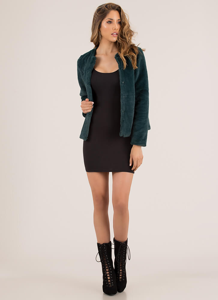 Classic Beauty Boxy Faux Fur Coat HUNTERGREEN