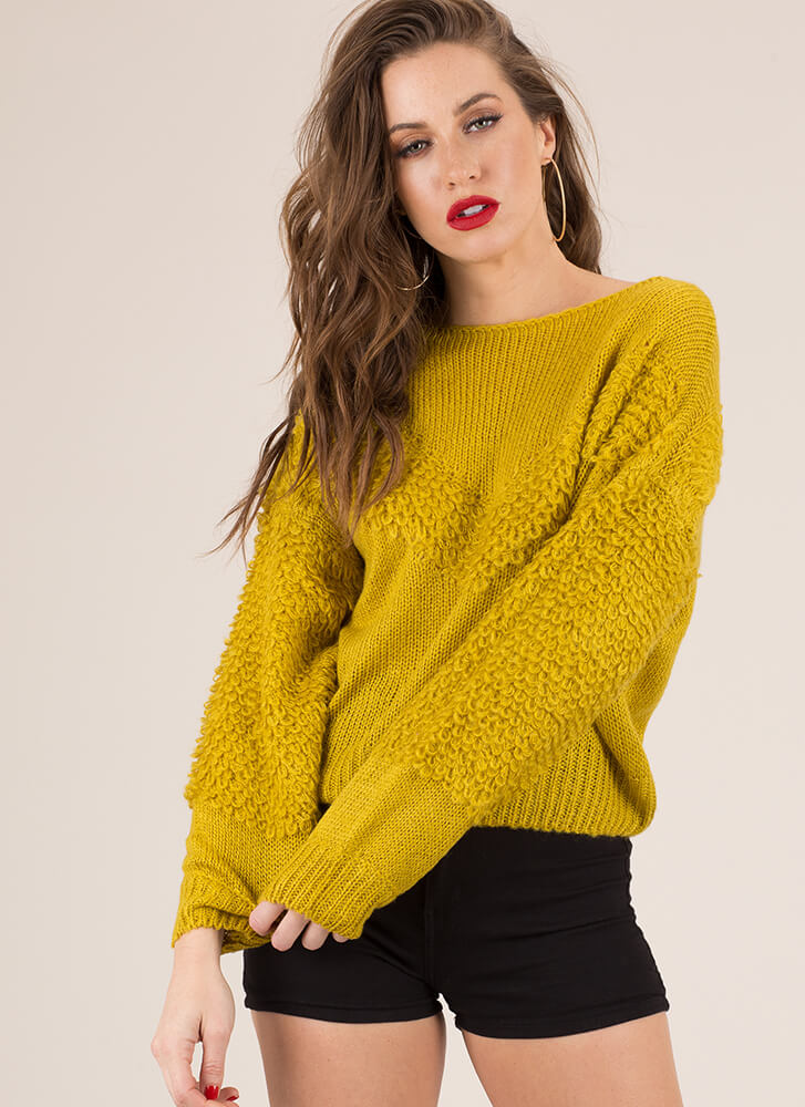 Warm And Fuzzy Looped Knit Sweater MUSTARD