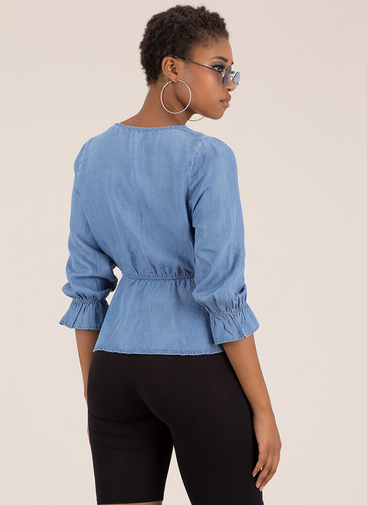 Chic In Chambray Tied Peplum Top BLUE