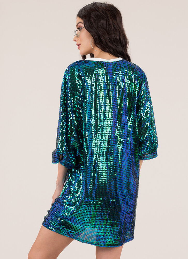 Spicy Queen Graphic Sequined Shirt Dress GREENMULTI