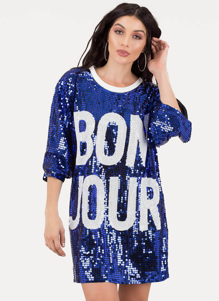 Bonjour Graphic Sequined Shirt Dress ROYAL