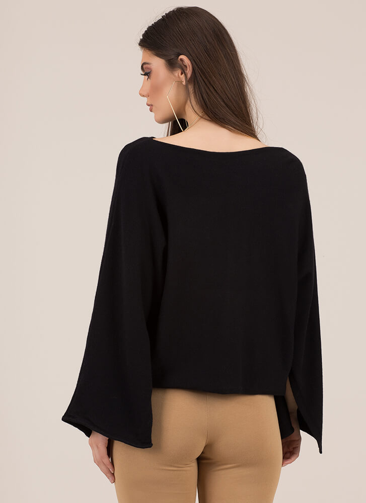 Winging It Flare-Sleeve Knit Sweater BLACK